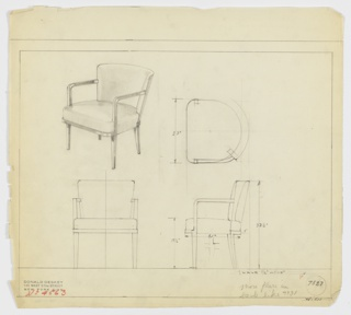 Drawing, Armchair, Upholstered, 1930–1934