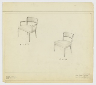 Drawing, Armchair, Upholstered; Sidechair, Upholstered, 1929–1934