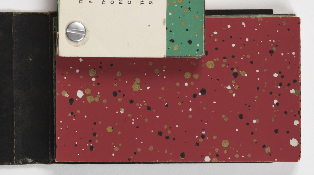 "A multitude of color variations featuring ""spattered"" designs, with different colored pigments spattered on many different ground colors. A few repeat patterns are included in the back of the book, including Chinese Tea Chest papers. a) Contains Tea chest papers; b) contains pepper pot papers; c) contains a variety of papers including pepper pot papers and flocks with sparkles."