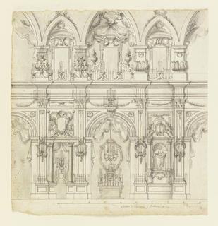 Drawing of a two tiered wall decor with candelabrum, statues, columns and pediments.