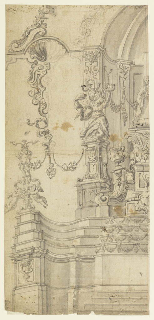 The left half of an architectural design for an altar is shown.  The mensa had a convex plan, with four steps in front of the straight central part.  The head piece has four steps.  The retable consists of a high and complicated pedestal, with the figure of the Virgin praying in front of the Cross.  The wall behind the retable had the form of a niche.  At its front corner an angel is kneeling upon a pedestal, carrying a candlestick with five arms upon his head.  At the corner of the mensa stands a candelabrum with two flying angels beside its shaft, and with a standing angel carrying three candle branches upon the head.  The stucco decoration of the wall is suggested but not entirely executed.