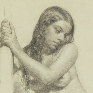 Female nude facing front resting on her right leg and holding the model stick.