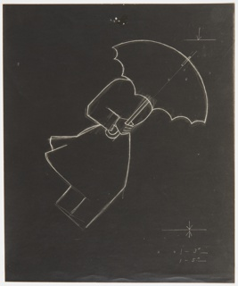 Study of a motif for an advertisement for Conoco's Nth Motor Oil. Photograph of a line drawing. In white, the outline of a figure holding an open umbrella, which is covering their face. The figure is positioned at a diagonal angle, as if bent into the wind.