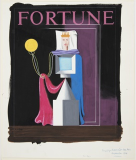 Design for the cover of an issue of Fortune magazine. At center, against a black, purple and brown ground, an abstract rendering of a queen, comprised of gray three-dimensional shapes and cloths draped around them in purple, blue and pink. At left, a floating yellow orb connected to the body by a few long strings. The queen's head is depicted facing frontally, wearing a golden crown. Above, in pink lettering: FORTUNE. Surrounding the image, graphite framing lines.