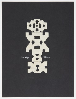 """A white, abstract geometric composition or """"totem"""" is seen frontally, set against a black background, comprised of cut white paper. In script, on either side of the composition, at center: Anxiety [at left]; Totem [at right]"""