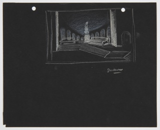 """Drawing, Stage Design: Garden, Act II, Scene 2, for """"Othello"""""""
