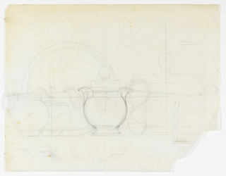 Graphite sketches for a set of tableware, from left to right: pitcher, sugar bowl, serving plate, teapot and tureen.