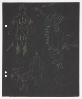 At top, two full figures drawn in outline, details of their costume drawn in color. Below, three full figures and one torso in outline with less detail filled in. At top center, between the two full figures, a sketch of a head and headress. On the center right side of the page, a detail of legs and feet. On verso, sketches of Act IV, Scene 1 set, with props. At the left edge of teh paper, three holes for loose-leaf binder.