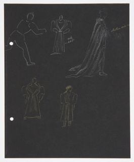 Five costume design studies of figures wearing heavy cloaks (possibly for Iago). On verso, standing figure in a long cloak. At the left edge of the paper, two holes for loose-leaf-binder.