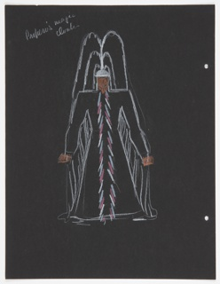"""Costume design for Prospero for Shakespeare's """"The Tempest"""". At center, a standing figure in a great cloak and large feathered headdress; herringbone pattern down front of tunic, all drawn in white outline. On verso, outline sketch of a figure in doublet and hose."""