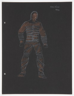 """Costume design for Caliban for Skahespeare's """"The Tempest"""". At center, a standing figure colored in brown is depicted bound in ropes. On verso: two figures in semi-abstract costume."""
