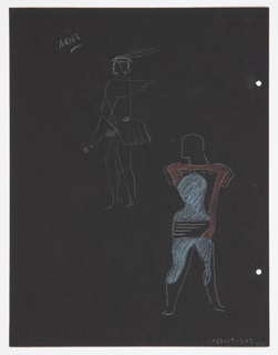 """Drawing, Costume Design: Caliban, for """"The Tempest"""""""