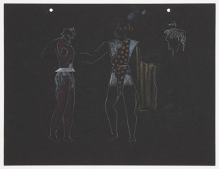 """Costume design studies for Ariel of Shakespeare's """"The Tempest"""". Two standing figures in classical (minoan-type) garb, and a head in profile, inscribed """"wig."""" On verso, a standing figure in loosely-fitting toga, inscribed """"Ariel,"""" and above, a stage set in cubistic arrangement. Two holes, upper edge, for a loose-leaf binder."""