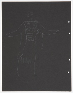 """Costume design study for Ariel (possibly) of Shakespeare's """"The Tempest"""". A standing figure in archaic Greek dress, seen in right profile, arms raised away from the body. Figure lightly sketched. Four holes, right, for loose-leaf binder. On verso, a colossal head on a flight of steps."""