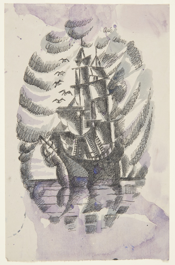 Illustration for Herman Melville's Benito Cereno. At center, a large ship with sails unfurled on the horizon of an ocean, seen in quarter-profile. The ocean and sky form an oval border around the ship.