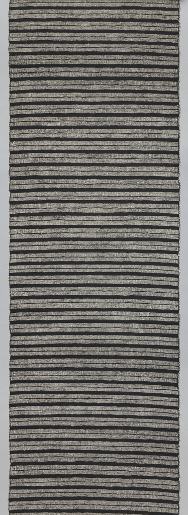 Panel of horizontal stripes in black and white. Pairs of white stripes are made from thick white silk (kibiso) weft that alternate with single black stripes of black warp and weft. Black silk threads are lightly twisted.