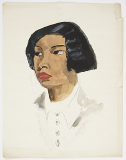 Illustration for Knopf's 1929 edition of Carl van Vechten's controversial novel, Nigger Heaven, originally published in 1926. At center, a woman with black, bluntly cut hair, wearing a white, collared blouse turned three-quarters to the left.