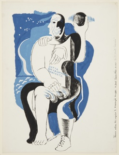 Illustration for T. S. Eliot's poem, Marina. At center, an abstract, seated figural representation holding a sphere and set against a blue background. Across the chest of the figure, in blue text: DATTA / DAYADHVAM / DAMYATA.