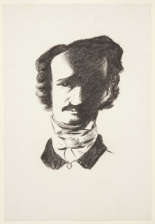 Study for an illustration for a 1946 edition of The Complete Poems and Stories of Edgar Allan Poe, published by Knopf in New York. Bust portrait of Edgar Allan Poe shown frontally, rendered in black. The entire left side of Poe's facial features are cast in a shadow. His coat has a black collar and is buttoned at the throat. There is also a scarf or cravat tied snugly around his neck, above the collar of his jacket.