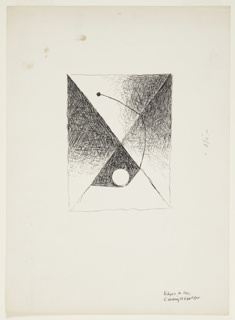 Illustration for a 1946 edition of The Complete Poems and Stories of Edgar Allan Poe, published by Knopf in New York. This drawing was likely created for a spot illustration for the short story, The Landor's Cottage. At center, a rectangular, abstract composition divided by an X that cuts the rectangle into four triangular areas. Each triangular area is shaded individually. In the bottom triangle, a white sphere and a long curved line extending out of the circle upwards and to the left.