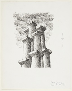 Illustration for a 1946 edition of The Complete Poems and Stories of Edgar Allan Poe, published by Knopf in New York. This drawing was likely created for a spot illustration for the Biographical and Textual Notes section of the book. At center, a cluster of eight chimney stacks, shaped in the form of Doric columns, arranged in a pyramidal shape. Smoke rises from them.