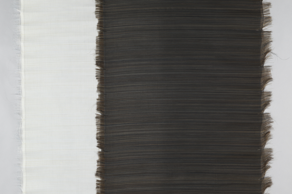 Off-white horse hair is used end to end as the weft, with several inches left unwoven at each side. Panel has subtle variations in color created by slight differences in the shades of horse hair used.