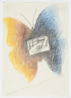 "Study for a ""Spring in the Country"" poster for London Transport. At center, a butterfly with one blue and black, and one yellow and orange wing, with a rectangular sketch of a landscape superimposed onto the center of the body."
