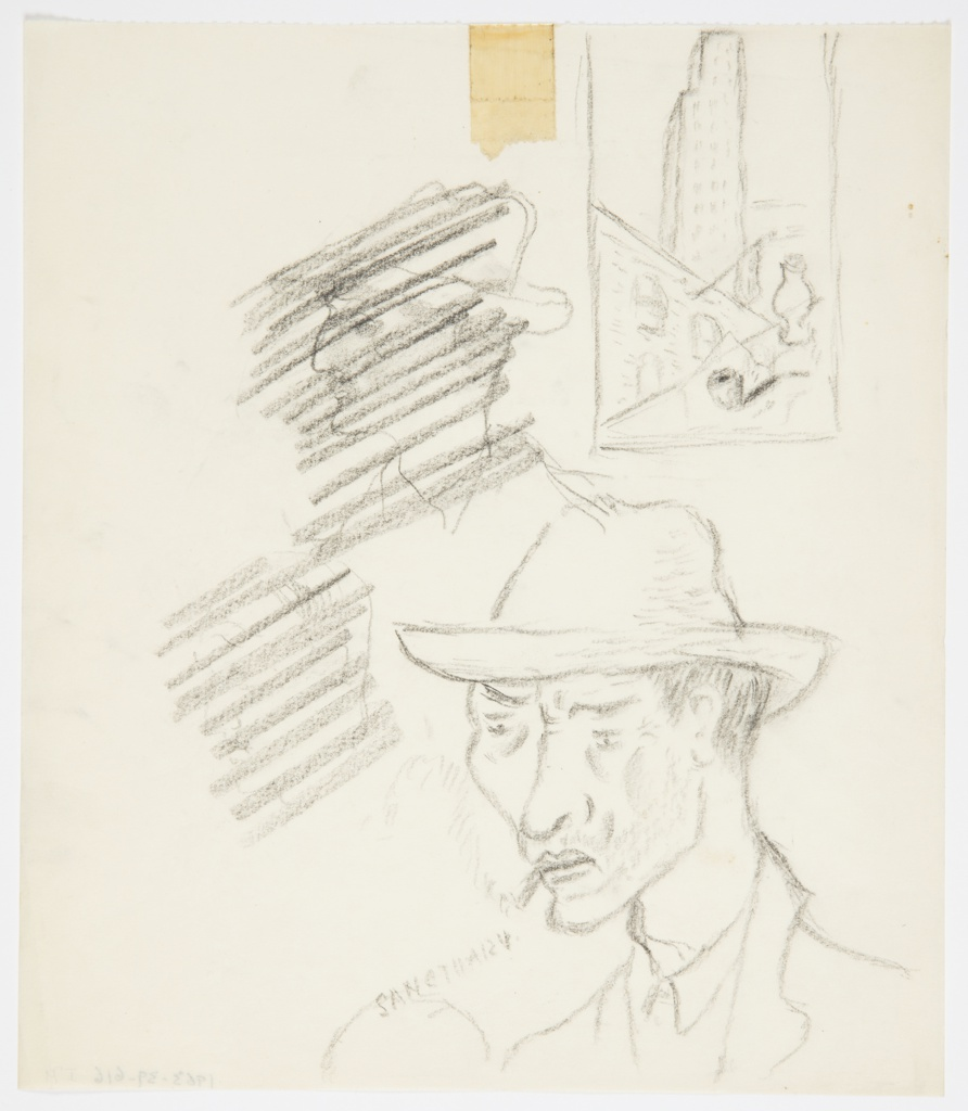 """Studies in graphite for projects including an American Airlines poster featuring New York, and a book jacket design for William Faulkner's """"Sanctuary"""". Lower right: bust of a person wearing a hat and smoking a cigarette, with text at left: SANCTUARY. Center left: head of a person in profile (possible self portrait), crossed out. Upper left: bust of a person in profile wearing a hat, crossed out. Upper right: study for """"American Airlines to New York"""" poster enclosed in a rectangle, showing a skyscraper towering over a lower building adorned with an American flag, and, in foreground, a tobacco pipe and vase."""