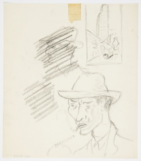 "Studies in graphite for projects including an American Airlines poster featuring New York, and a book jacket design for William Faulkner's ""Sanctuary"". Lower right: bust of a person wearing a hat and smoking a cigarette, with text at left: SANCTUARY. Center left: head of a person in profile (possible self portrait), crossed out. Upper left: bust of a person in profile wearing a hat, crossed out. Upper right: study for ""American Airlines to New York"" poster enclosed in a rectangle, showing a skyscraper towering over a lower building adorned with an American flag, and, in foreground, a tobacco pipe and vase."