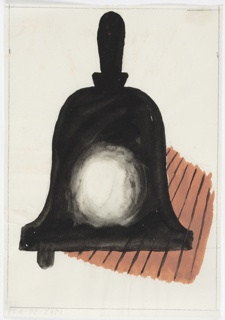 Study for a telephone advertisment for the General Post Office. Black handbell with a round white circle in the center on top of a brown, lined, ground, resembling a wood floor.