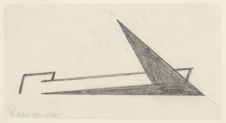 Likely a study for an Imperial Airways (now, British Airways) advertisement or logo. Likely a study for an Imperial Airways (now, British Airways) advertisement or logo. An abstractly rendered airplane flying towards the right, with triangular, bird-like wings that have been shaded in.