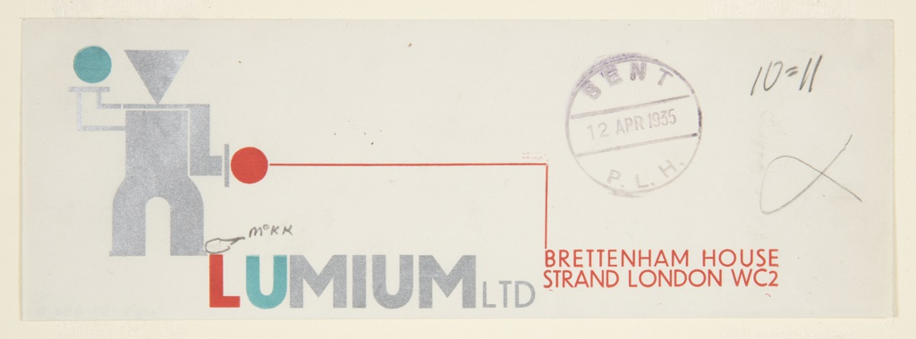 Printer's proof for a design for stationary letterhead (and possiblly the logo) for Limium Limited. At left is an abstract, machine-like standing figure composed of reduced geometric forms in silver with a blue and a red hand. The figure is positioned slightly to the left and above the company name, rendered in red blue and gray lettering: LUMIUM LTD. At right, the company address, connected by a red line which extends across the page back to the arm of the abstract figure: Lumium Ltd, Brettenham House/ Strand London WC2.