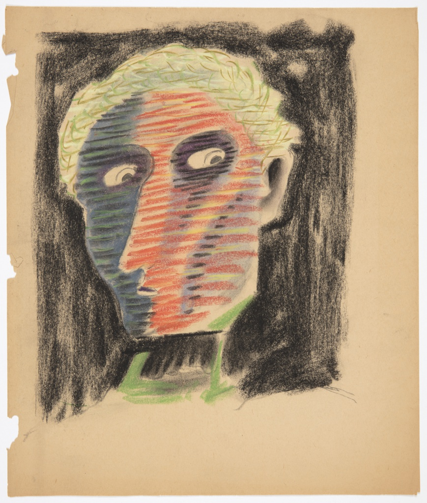 Study for an abstract face. On a black ground, a human face turned slightly left, with the gaze turned back to the right. The face is shaded with blue, black, and green horizontal stripes on the left, and red and yellow horizontal stripes on the right. The figure has short green hair, and wears a black and green turtleneck shirt.