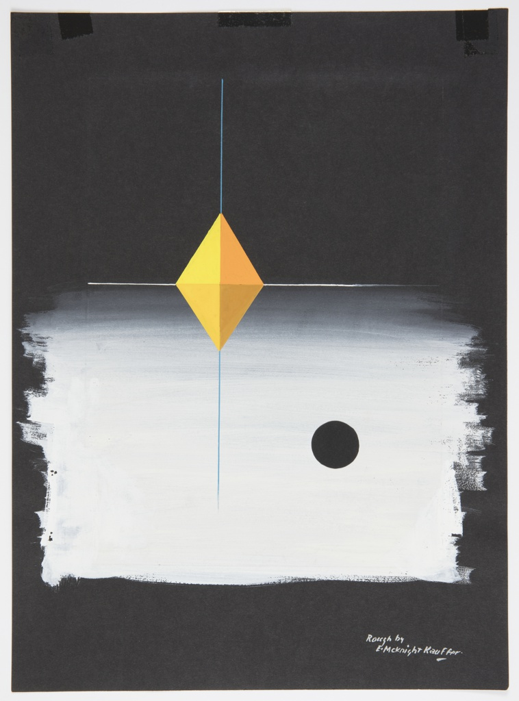 Study of an abstract composition with a yellow diamond at center, bisected vertically by a blue line and horizontally by a white line. In lower right quadrant, a black sphere against a white ground which covers the entire bottom half of the image.