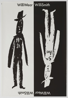Poster for WilliWear, with vertical frame bisected, left half shows a black figure with a hat on a white background, and the right side shows the same image, upside down, with white figure on black. Text on the torso of the left figure reads '19th St.' Text on the torso of the right figure, upside down, reads 5th Ave. At top, 'WilliWear' at left side of center line, and 'WilliSmith' at right. Below, the same text is inverted, and also shown upside down.