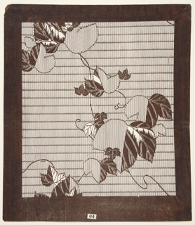 Ivy  leaves have been placed on top of thin horizontal stripes. Some of the leaves are divided in half; vertical strips on one side with  veins carved out on the other side. A single linear vine is connecting all the leaves throughout the motif. Silk threads are added to strengthen the support of the stencil.