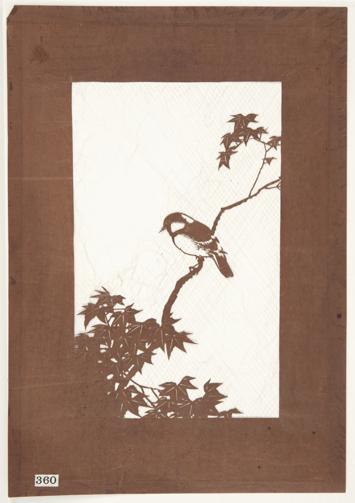 A single chickadee resting on an extended Japanese maple branch. Silk threads have been added to support the image. Maple trees are a symbol of strength and endurance.