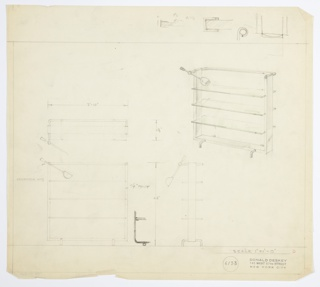 Design for shelving unit. At upper right, object shown in perspective: three open glass shelves set into three-sided square frame (open above) with rounded top edges. Below, two pairs of perpendicular tubular metal feet support shelf while above, same material angles around rear of top shelf. At left, spherical mount holds cantilevered, adjustable lamp. Also shown in plan and front and side elevations, with rough sketches throughout. Inscribed with Deskey No. 6133.
