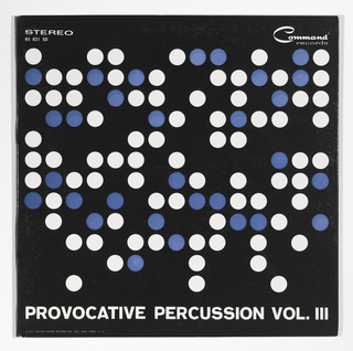 A pattern of blue and white dots, based on a grid, are arranged on a solid black field.The title, PROVOCATIVE PERCUSSION, VOL.III are printed in white across the bottom edge. At top right is printed STEREO / RS 821 SD and at top right is the Command Records logo. At bottom left under the title is @1961 Grand Award Record Co., INC. New York N.Y.