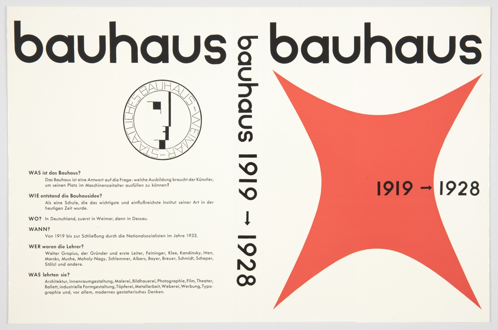 """Book jacket design for Bauhaus 1919–1928 exhibition catalogue containing German text. Edited by Herbert Bayer, Walter Gropius, and Ise Gropius. Published by Verlag Gerd Hatje. The original 1938 catalogue has a different cover design. Front cover features title in Bauhaus font in black across top with large red curved square form below. """"1919–1928"""" is printed in black at center right. On spine, title appears in black Bauhaus font. On back cover, description of the Bauhaus in black, in the form of questions and answers. Also includes the Bauhaus seal or symbol, a circle with a geometric man's face inside and """"STAATLICHES BAUHAUS-WEIMAR"""" around the border, printed in black. Verso contains flaps with printed black text. On the left flap, the text answers the question above, """"WARUM is das Bauhaus so wichtig?"""" (Why is the Bauhaus so important?). On the right flap, information about a book by S. Giedion: Walter Gropius: Mensch und Werk."""