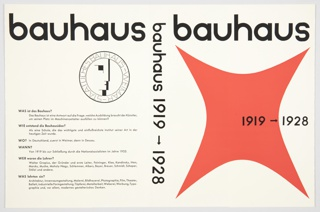 "Book jacket design for Bauhaus 1919–1928 exhibition catalogue containing German text. Edited by Herbert Bayer, Walter Gropius, and Ise Gropius. Published by Verlag Gerd Hatje. The original 1938 catalogue has a different cover design. Front cover features title in Bauhaus font in black across top with large red curved square form below. ""1919–1928"" is printed in black at center right. On spine, title appears in black Bauhaus font. On back cover, description of the Bauhaus in black, in the form of questions and answers. Also includes the Bauhaus seal or symbol, a circle with a geometric man's face inside and ""STAATLICHES BAUHAUS-WEIMAR"" around the border, printed in black. Verso contains flaps with printed black text. On the left flap, the text answers the question above, ""WARUM is das Bauhaus so wichtig?"" (Why is the Bauhaus so important?). On the right flap, information about a book by S. Giedion: Walter Gropius: Mensch und Werk."