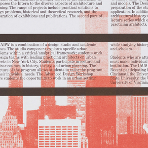 Poster featuring red and black text on a white ground; divided into registers by black horizontal bands, and cityscape in lower section printed in red.