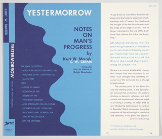 "Book jacket design for Yestermorrow: Notes on Man's Progress by Kurt W. Marek / C. W. Ceram, translated from the German by Ralph Manheim, published by Alfred A. Knopf. Front cover design features a vertical curving line that separates a violet form at left from a blue form at right. Text appears on either side: brief description of book in blue text on violet background at left; violet text with title and author's names on blue background at right. Printed in white, along the top: YESTERMORROW; center right: C.W. CERAM. Printed in violet, upper right: NOTES / ON / MAN'S / PROGRESS / by / Kurt W. Marek; in smaller violet text, center right: TRANSLATED / FROM THE GERMAN BY / Ralph Manheim. Spine along left side contains alternating blue and violet rectangles and includes author's name in blue (inside a violet rectangle) and the title in white and light blue (inside a violet rectangle). Publisher name and logo in violet on a blue background at bottom. Flap on right side includes descriptive text about the book in violet and blue that continues onto the verso flap. Verso flap also includes a violet reproduction of layered photographs of the author against a solid blue background, with ""MAREK"" in blue and ""CERAM"" in violet printed above."