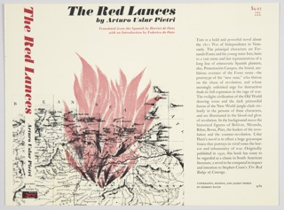 Book jacket design for The Red Lances by Arturo Uslar Pietri, published by Alfred A. Knopf. Front cover design features a portion of a map of Venezuela printed in black. Illustrated red flames emanate from the map's center. Title and author information appear at top in black and red. Spine includes title printed vertically in red, the author's name in black, and the publisher's name and logo in black and red at the bottom. Flap design on right contains descriptive text about the book printed in black. Verso contains a biography of the author on the left and a black and white photographic image of the author at right.