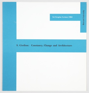 Booklet Cover, Constancy, Change and Architecture