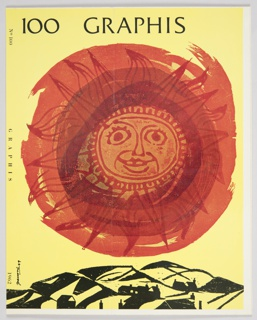 """Magazine cover design for Graphis featuring a large red and orange sun against a yellow background. Hills and buildings are depicted in black at the bottom of the design. The text """"100 GRAPHIS"""" appears at the top in black. The spine is indicated by the text, """"No 100"""", """"GRAPHIS"""", and """"1962"""", which appear vertically in black from top to bottom along the left side. Verso: Advertisement for Container Corporation of America designed by Herbert Bayer. Design features a reproduction of a painting by Herbert Bayer with abstract shapes (half-circles, squares, and rectangles) in various colors (navy, dark blue, light blue, green, light orange, dark orange, and white). Appears to be Bayer's painting """"Moon"""" from 1959."""