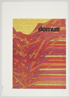 """Printed article page featuring July 1954 domus cover design by Herbert Bayer. Design consists of red, orange, pink, and yellow rows. Yellow rows occupy the upper left, and the majority of the red, orange, and pink rows are jumbled together like a bunch of sticks. The text """"domus"""" is printed in black at upper right; directly below, in smaller text: 296 luglio 1954. Verso: Reproduction of the January 1954 domus cover in black and white on the lower right, surrounded by printed black text in English and German."""
