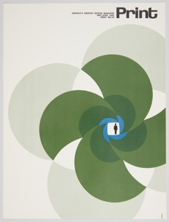 """Magazine cover design for Print, XVI:III, May/June 1962 featuring a design with a small black human figure inside a white square at the center of radiating pinwheel forms in blue and green against a white background. """"Print"""" appears in the upper right corner in black text, with smaller black text on the left: AMERICA'S GRAPHIC DESIGN MAGAZINE / MAY/JUNE 1962 / PRINT XVI:III. Verso: Amsterdam Continental Types and Graphic Equipment advertisement for the Firmin Didot typeface featuring an illustration and text printed in black."""