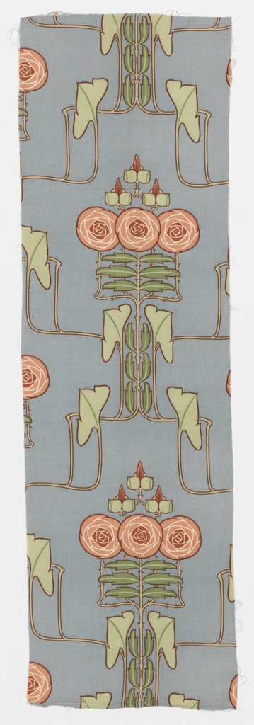 Narrow length of light blue sateen printed in a highly stylized floral pattern in Art Nouveau style. Symmetrical arrangement of two open face round flowers in a rose color on rigidly drawn branching stems with small leaves in dark and light green. Larger pale green leaves are three lobed at turns of the stems. Entire design is outlined in dull red.