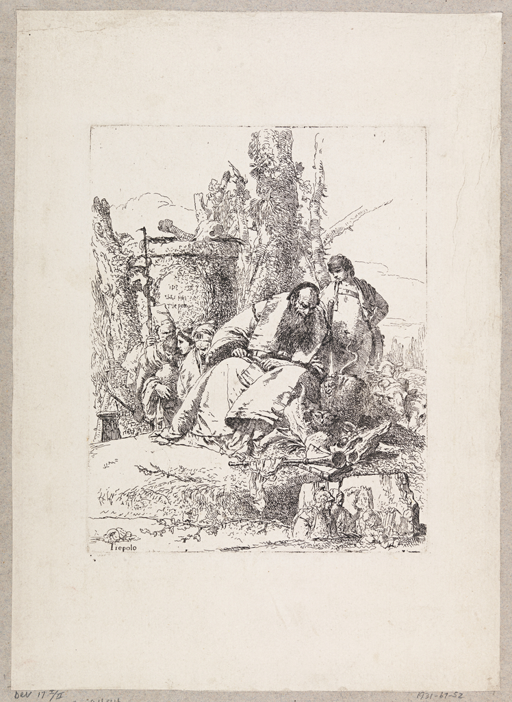 In the center, a seated magician is observing some skulls, among which sits an owl. To the right, a standing shepherd and a flock of sheep. At left, a group of half figures, and a cauldron containing bones.